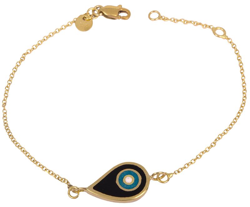 Γυναικείο βραχιόλι με μάτι διπλής όψης 14Κ 023086 023086 Χρυσός 14 Καράτια