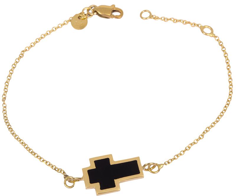 Βραχιόλι χρυσό με σταυρό 14Κ 023087 023087 Χρυσός 14 Καράτια