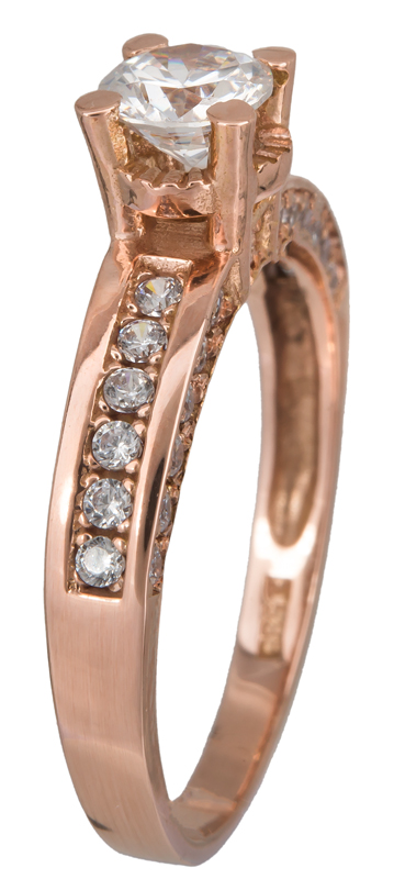 Ροζ gold μονόπετρο Κ14 023089 023089 Χρυσός 14 Καράτια χρυσά κοσμήματα δαχτυλίδια μονόπετρα