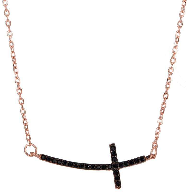 Ροζ επίχρυσο κολιέ με σταυρό 925 023103 023103 Ασήμι