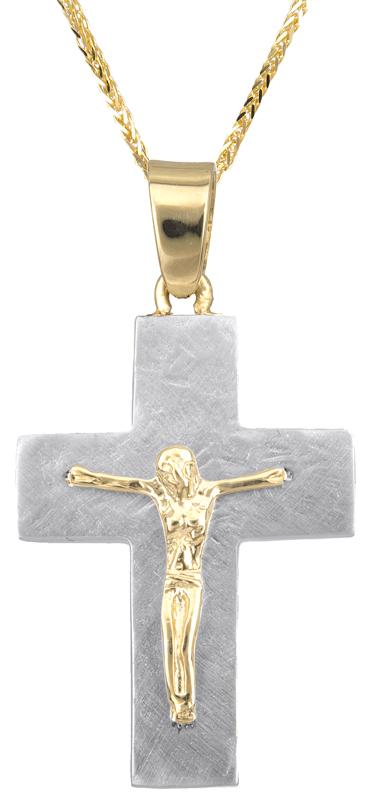 Βαπτιστικοί Σταυροί με Αλυσίδα Δίχρωμος σταυρός διπλής όψης Κ14 C023119 023119C Ανδρικό Χρυσός 14 Καράτια