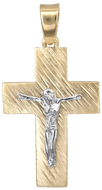 Σταυροί Βάπτισης - Αρραβώνα Ανδρικός σταυρός διπλής όψης Κ14 023122 023122 Ανδρικό Χρυσός 14 Καράτια