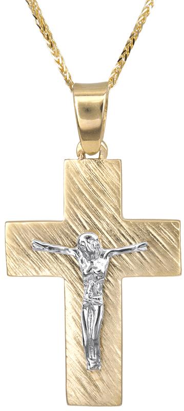Βαπτιστικοί Σταυροί με Αλυσίδα Ανδρικός σταυρός Κ14 C023122 023122C Ανδρικό Χρυσός 14 Καράτια