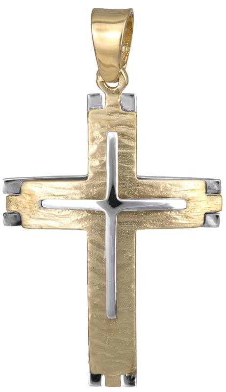 Σταυροί Βάπτισης - Αρραβώνα Σταυρός βάπτισης διπλής όψης Κ14 023127 023127 Ανδρικό Χρυσός 14 Καράτια
