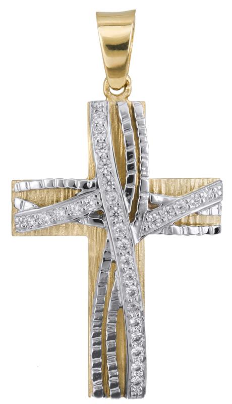 Σταυροί Βάπτισης - Αρραβώνα Γυναικείος δίχρωμος σταυρός Κ14 023129 023129 Γυναικείο Χρυσός 14 Καράτια