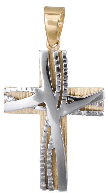 Σταυροί Βάπτισης - Αρραβώνα Δίχρωμος ανδρικός σταυρός Κ14 023130 023130 Ανδρικό Χρυσός 14 Καράτια