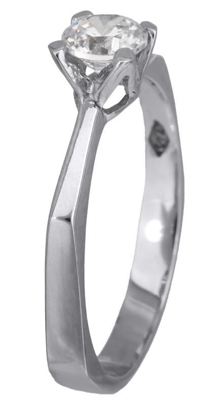 Λευκόχρυσο μονόπετρο με ζιργκόν Κ14 023162 023162 Χρυσός 14 Καράτια χρυσά κοσμήματα δαχτυλίδια μονόπετρα