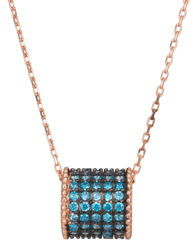 Ροζ gold κολιέ με μπλε πέτρες Κ14 023235 023235 Χρυσός 14 Καράτια