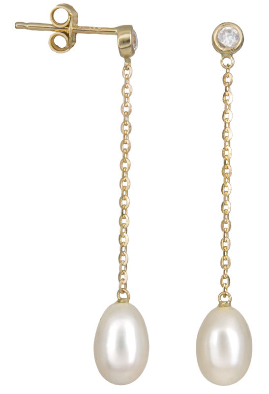 Σκουλαρίκια με κρεμαστά μαργαριτάρια Κ14 023237 023237 Χρυσός 14 Καράτια
