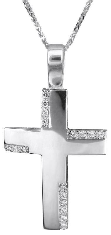 Βαπτιστικοί Σταυροί με Αλυσίδα Λευκόχρυσος σταυρός με μπριγιάν 18Κ 023241C 023241C Γυναικείο Χρυσός 18 Καράτια