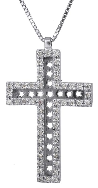 Βαπτιστικοί Σταυροί με Αλυσίδα Λευκόχρυσος σταυρός με διαμάντια 18Κ 023244 023244 Γυναικείο Χρυσός 18 Καράτια