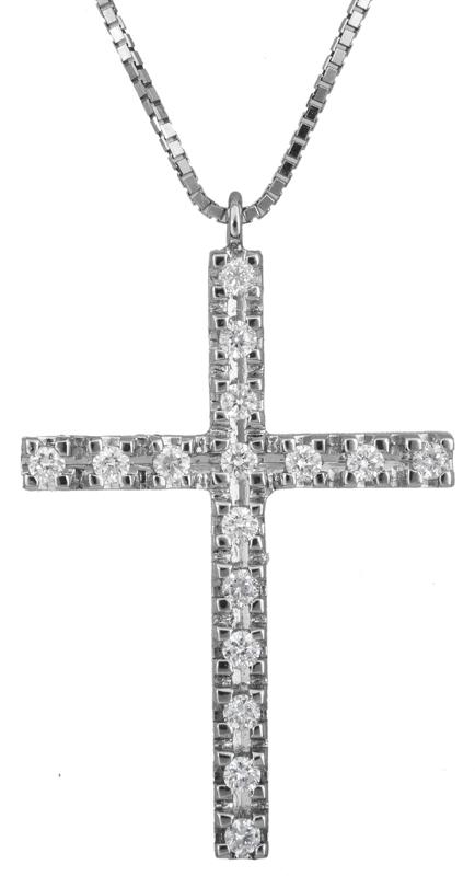 Βαπτιστικοί Σταυροί με Αλυσίδα Λευκόχρυσος γυναικείος σταυρός με διαμάντια 18Κ 023246 023246 Γυναικείο Χρυσός 18 Καράτια
