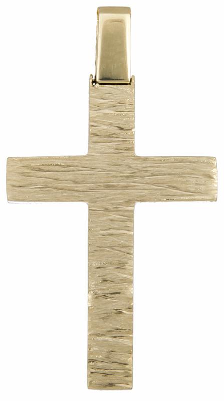 Σταυροί Βάπτισης - Αρραβώνα Ανάγλυφος αντρικός σταυρός Κ18 023584 023584 Ανδρικό Χρυσός 18 Καράτια