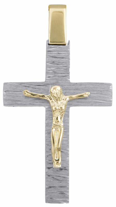 Σταυροί Βάπτισης - Αρραβώνα Δίχρωμος σταυρός διπλής όψεως Κ14 023250 023250 Ανδρικό Χρυσός 14 Καράτια