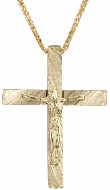 Βαπτιστικοί Σταυροί με Αλυσίδα Αντρικός σταυρός με τον Εσταυρωμένο Κ14 C023251 023251C Ανδρικό Χρυσός 14 Καράτια