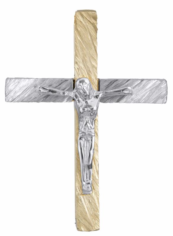 Σταυροί Βάπτισης - Αρραβώνα Δίχρωμος σταυρός με τον Εσταυρωμένο Κ14 023252 023252 Ανδρικό Χρυσός 14 Καράτια