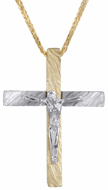 Βαπτιστικοί Σταυροί με Αλυσίδα Δίχρωμος σταυρός με τον Εσταυρωμένο Κ14 C023252 023252C Ανδρικό Χρυσός 14 Καράτια