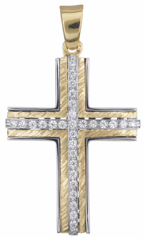 Σταυροί Βάπτισης - Αρραβώνα Δίχρωμος σταυρός με πέτρες Κ14 023255 023255 Γυναικείο Χρυσός 14 Καράτια