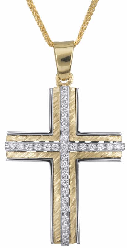 Βαπτιστικοί Σταυροί με Αλυσίδα Γυναικείος σταυρός με αλυσίδα Κ14 C023255 023255C Γυναικείο Χρυσός 14 Καράτια