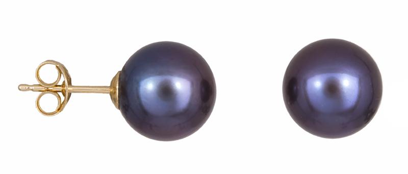 Σκουλαρίκια Κ14 με μαύρα μαργαριτάρια 023276 023276 Χρυσός 14 Καράτια