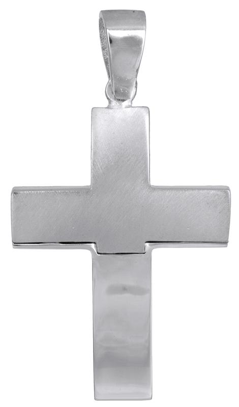 Σταυροί Βάπτισης - Αρραβώνα Λευκόχρυσος σταυρός για αγοράκι Κ14 023281 023281 Ανδρικό Χρυσός 14 Καράτια