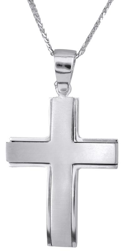 Βαπτιστικοί Σταυροί με Αλυσίδα Λευκόχρυσος αντρικός σταυρός με αλυσίδα 14Κ C023282 023282C Ανδρικό Χρυσός 14 Καράτια