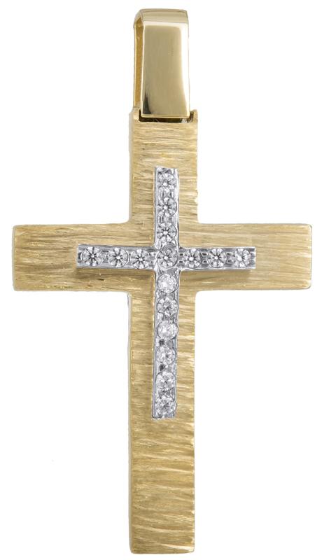 Σταυροί Βάπτισης - Αρραβώνα Γυναικείος σταυρός Κ14 με ζιργκόν 023286 023286 Γυναικείο Χρυσός 14 Καράτια