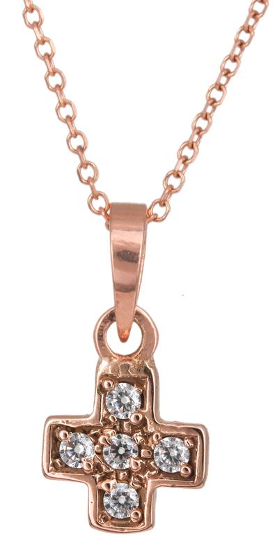 Ροζ χρυσό σταυρουδάκι Κ14 C023305 023305C Χρυσός 14 Καράτια