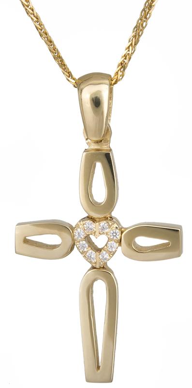 Βαπτιστικοί Σταυροί με Αλυσίδα Χρυσός σταυρός βάπτισης με καρδούλα Κ14 C023310 023310C Γυναικείο Χρυσός 14 Καράτια
