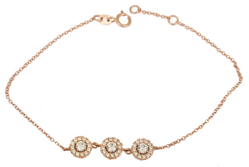 Ροζ gold βραχιόλι με ροζετούλες Κ14 023317 023317 Χρυσός 14 Καράτια