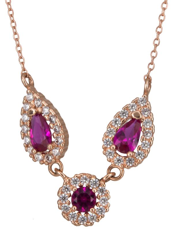 Ροζ gold κολιέ ροζέτες Κ14 023347 023347 Χρυσός 14 Καράτια