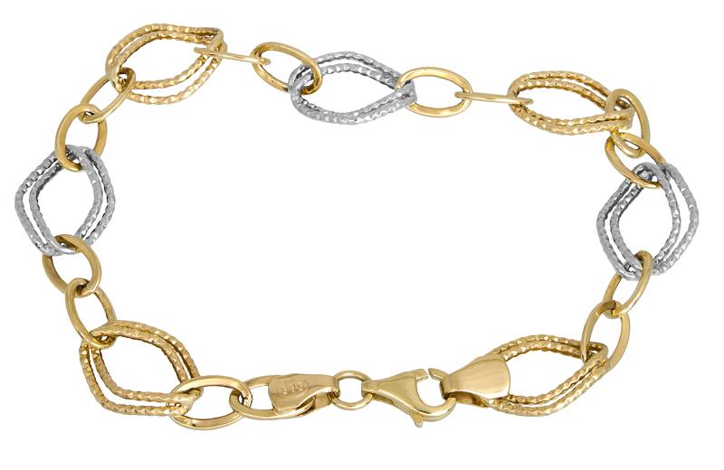 Γυναικείο δίχρωμο βραχιόλι Κ14 023353 023353 Χρυσός 14 Καράτια