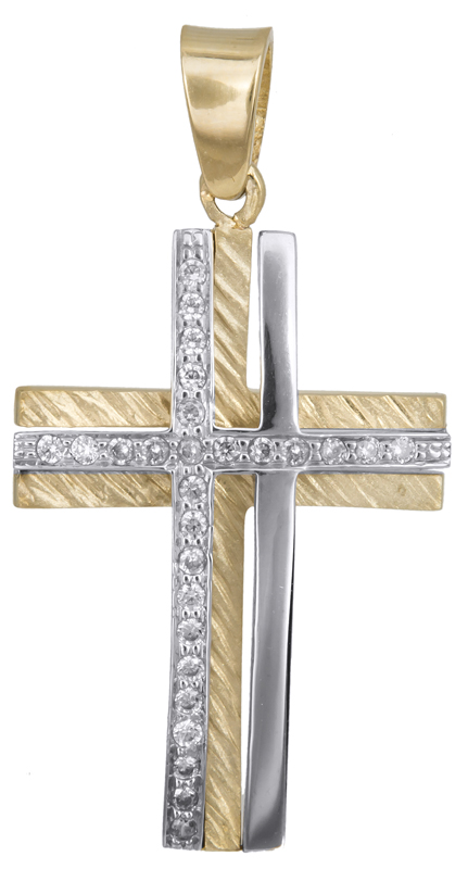 Σταυροί Βάπτισης - Αρραβώνα Γυναικείος δίχρωμος σταυρός Κ14 με ζιργκόν 023366 023366 Γυναικείο Χρυσός 14 Καράτια