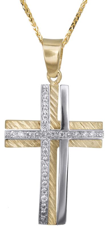 Βαπτιστικοί Σταυροί με Αλυσίδα Βαπτιστικός σταυρός με αλυσίδα Κ14 C023366 023366C Γυναικείο Χρυσός 14 Καράτια