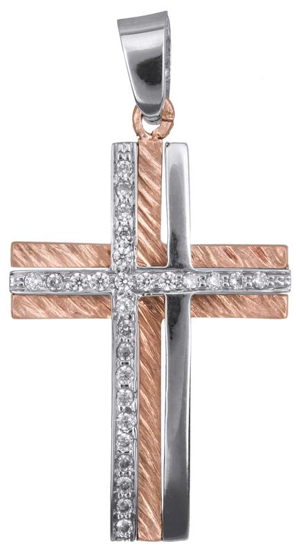 Σταυροί Βάπτισης - Αρραβώνα Γυναικείος σταυρός ροζ gold Κ14 023367 023367 Γυναικείο Χρυσός 14 Καράτια