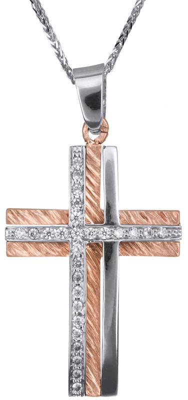 Βαπτιστικοί Σταυροί με Αλυσίδα Γυναικείος δίχρωμος σταυρός με αλυσίδα Κ14 C023367 023367C Γυναικείο Χρυσός 14 Καράτια