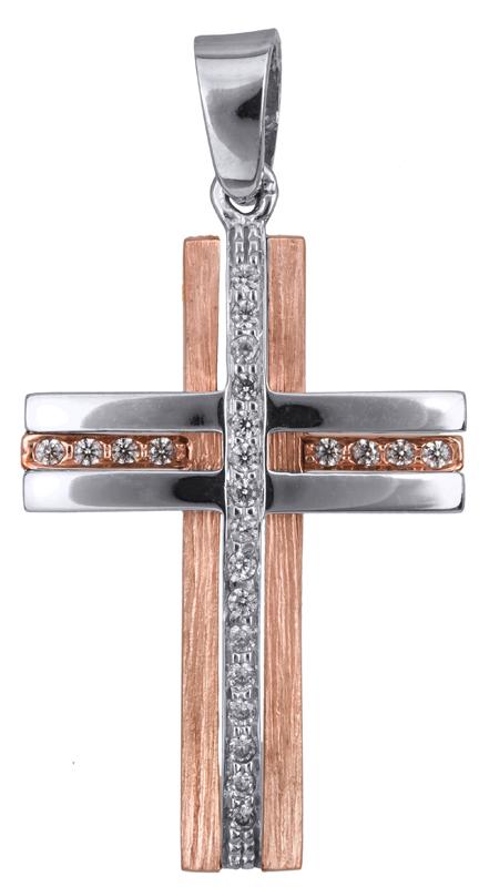 Σταυροί Βάπτισης - Αρραβώνα Σταυρός βάπτισης ροζ gold Κ14 023368 023368 Γυναικείο Χρυσός 14 Καράτια