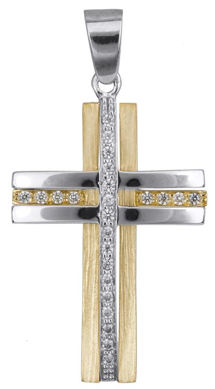 Σταυροί Βάπτισης - Αρραβώνα Δίχρωμος σταυρός για κορίτσι Κ14 023369 023369 Γυναικείο Χρυσός 14 Καράτια