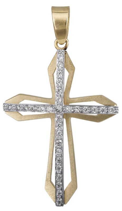 Σταυροί Βάπτισης - Αρραβώνα Γυναικείος σταυρός με πέτρες Κ14 023370 023370 Γυναικείο Χρυσός 14 Καράτια