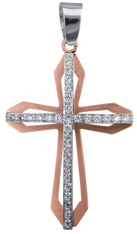 Σταυροί Βάπτισης - Αρραβώνα Γυναικείος σταυρός ροζ gold Κ14 023371 023371 Γυναικείο Χρυσός 14 Καράτια