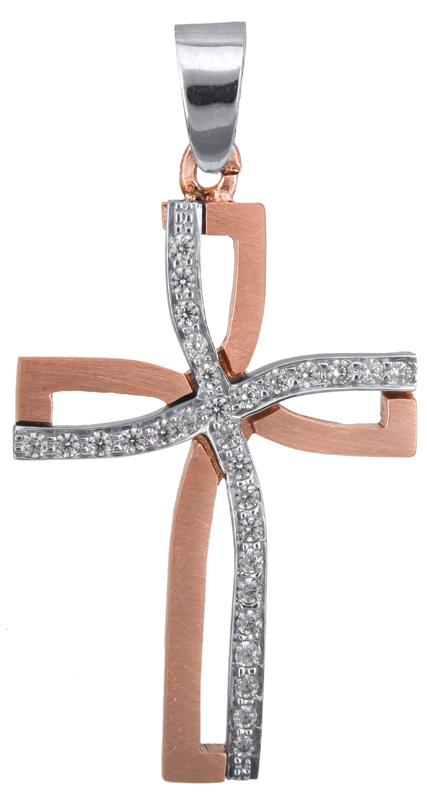 Σταυροί Βάπτισης - Αρραβώνα Ροζ gold σταυρός βάπτισης Κ14 023372 023372 Γυναικείο Χρυσός 14 Καράτια