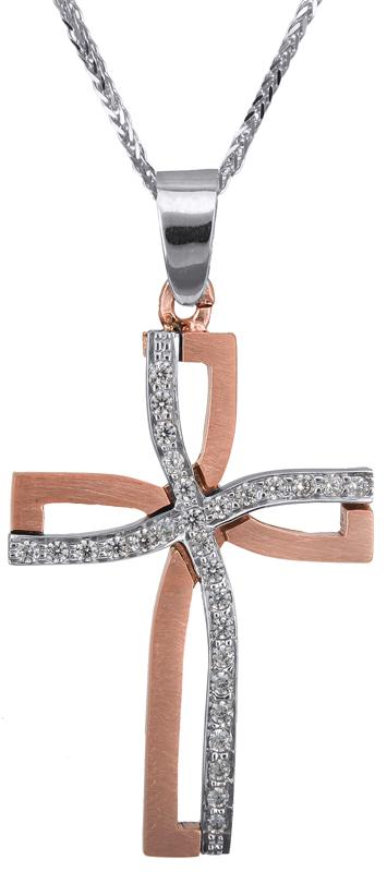 Βαπτιστικοί Σταυροί με Αλυσίδα Ροζ gold γυναικείος σταυρός Κ14 C023372 023372C Γυναικείο Χρυσός 14 Καράτια