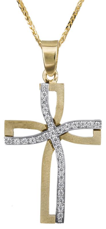 Βαπτιστικοί Σταυροί με Αλυσίδα Δίχρωμος γυναικείος σταυρός Κ14 C023373 023373C Γυναικείο Χρυσός 14 Καράτια