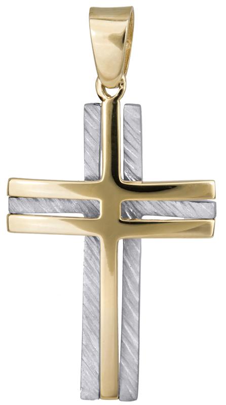 Σταυροί Βάπτισης - Αρραβώνα Δίχρωμος σταυρός βάπτισης για αγόρι Κ14 023374 023374 Ανδρικό Χρυσός 14 Καράτια