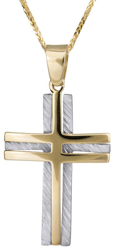 Βαπτιστικοί Σταυροί με Αλυσίδα Αντρικός δίχρωμος σταυρός Κ14 C023374 023374C Ανδρικό Χρυσός 14 Καράτια