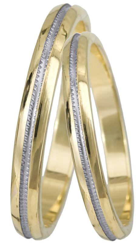 Δίχρωμες βέρες γάμου - αρραβώνα Κ14 023381 023381 Χρυσός 14 Καράτια