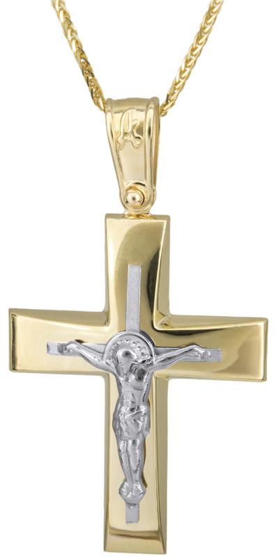 Βαπτιστικοί Σταυροί με Αλυσίδα Δίχρωμος αντρικός σταυρός 14Κ C023436 023436C Ανδρικό Χρυσός 14 Καράτια