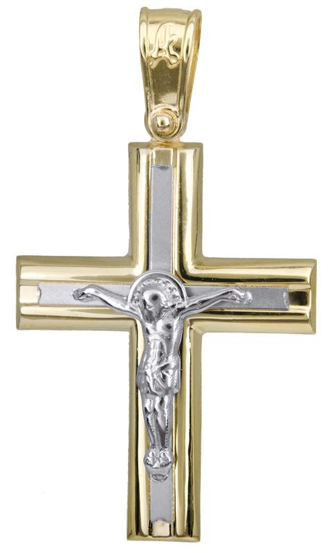 Σταυροί Βάπτισης - Αρραβώνα Σταυρός βάπτισης με τον Εσταυρωμένο 14Κ 023437 023437 Ανδρικό Χρυσός 14 Καράτια