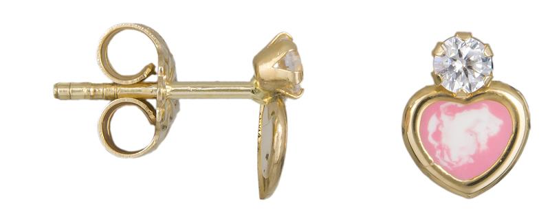 Χρυσά σκουλαρίκια καρδούλες Κ14 023461 023461 Χρυσός 14 Καράτια