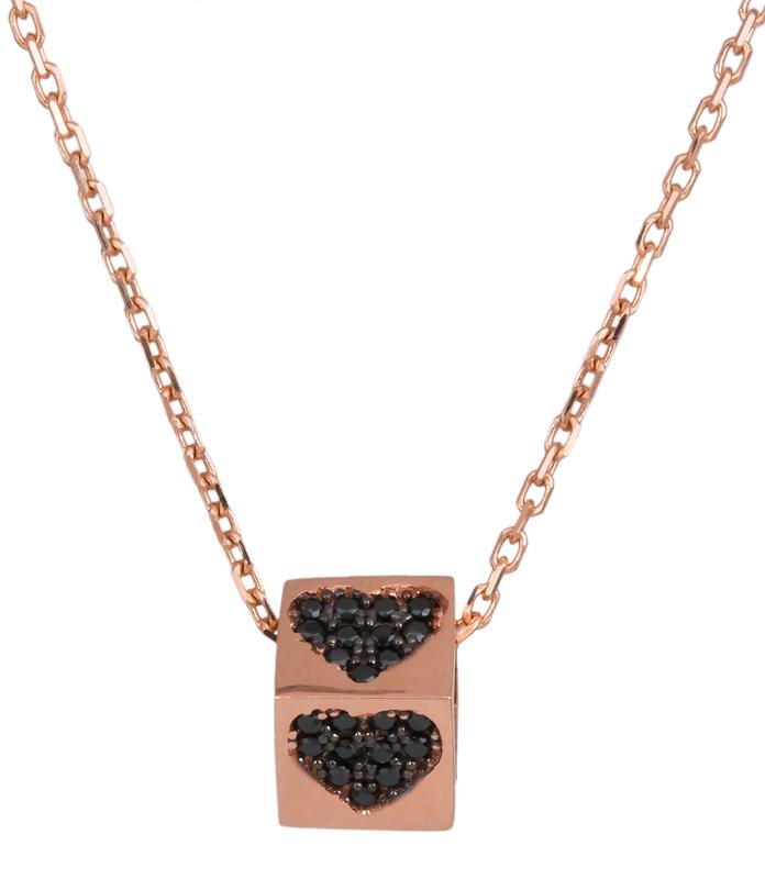 Ροζ gold κολιέ κύβος με καρδούλες Κ14 023466 023466 Χρυσός 14 Καράτια
